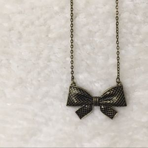 Bow Enamel Gold Necklace Jewellery Dainty Chain